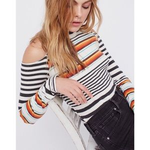 Free People Striped Cold Shoulder Long Sleeve Top